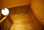 Wooden staircase with boarding